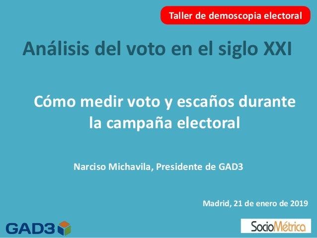 An�lisis del voto en el siglo XXI Madrid, 21 de enero de 2019 Taller de demoscopia electoral C�mo medir voto y esca�os dur...