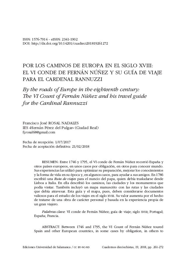 Ediciones Universidad de Salamanca / CC BY-NC-ND Cuadernos dieciochistas, 19, 2018, pp. 261-272 ISSN: 1576-7914 - eISSN: 2...