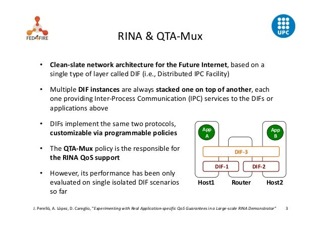 Experimenting with Real Application-specific QoS Guarantees in a Large-scale RINA Demonstrator Slide 3