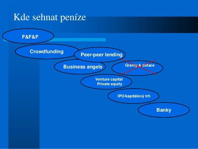 Kde sehnat peníze F&F&F Crowdfunding Business angels Venture capital Private equity IPO/kapitálový trh Banky Peer-peer len...