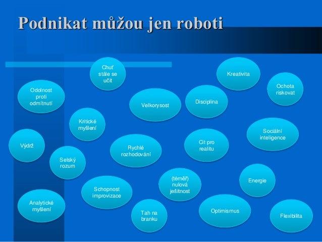 Podnikat můžou jen roboti Energie Odolnost proti odmítnutí Sociální inteligence Kritické myšlení Optimismus Rychlé rozhodo...