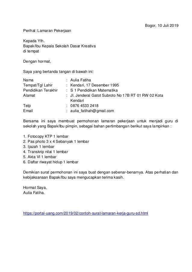 Contoh Surat Lamaran Kerja Guru Sd Umum