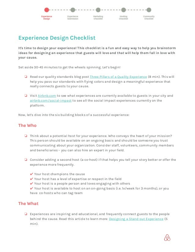 Experience Design Checklist  It's time to design your experience! This checklist is a fun and easy way to help you brai...