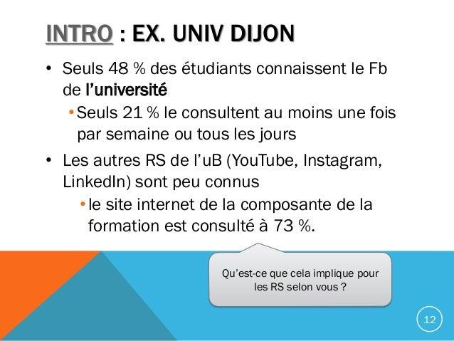 INTRO : EX. UNIV DIJON • Seuls 48 % des étudiants connaissent le Fb de l'université •Seuls 21 % le consultent au moins une...