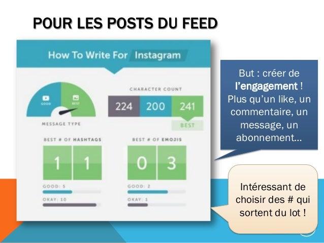 POUR LES POSTS DU FEED 158 But : créer de l'engagement ! Plus qu'un like, un commentaire, un message, un abonnement… Intér...