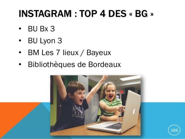 INSTAGRAM : TOP 4 DES « BG » • BU Bx 3 • BU Lyon 3 • BM Les 7 lieux / Bayeux • Bibliothèques de Bordeaux 188