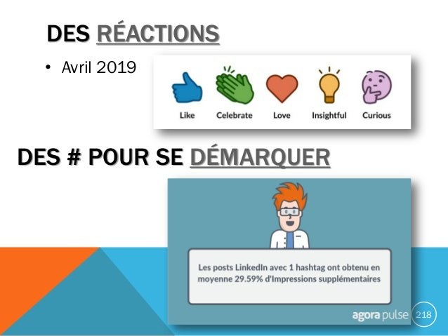 DES RÉACTIONS 218 • Avril 2019 DES # POUR SE DÉMARQUER