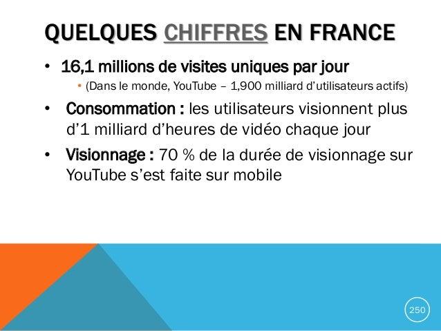 QUELQUES CHIFFRES EN FRANCE • 16,1 millions de visites uniques par jour • (Dans le monde, YouTube – 1,900 milliard d'utili...