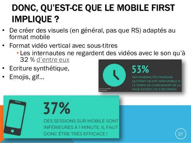 DONC, QU'EST-CE QUE LE MOBILE FIRST IMPLIQUE ? • De créer des visuels (en général, pas que RS) adaptés au format mobile • ...