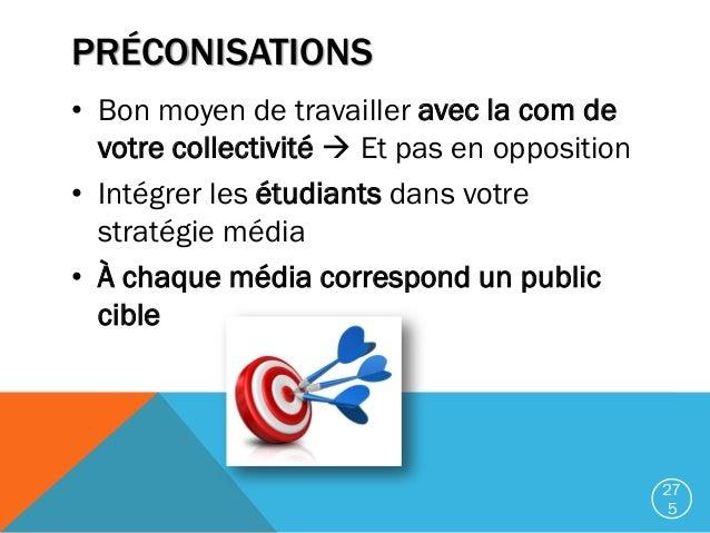PRÉCONISATIONS • Bon moyen de travailler avec la com de votre collectivité  Et pas en opposition • Intégrer les étudiants...