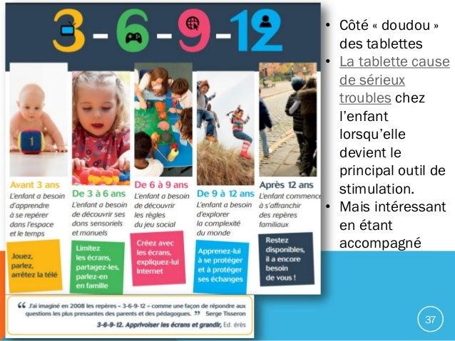 37 • Côté « doudou » des tablettes • La tablette cause de sérieux troubles chez l'enfant lorsqu'elle devient le principal ...