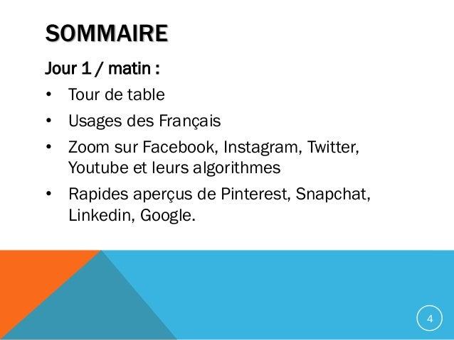 SOMMAIRE Jour 1 / matin : • Tour de table • Usages des Français • Zoom sur Facebook, Instagram, Twitter, Youtube et leurs ...