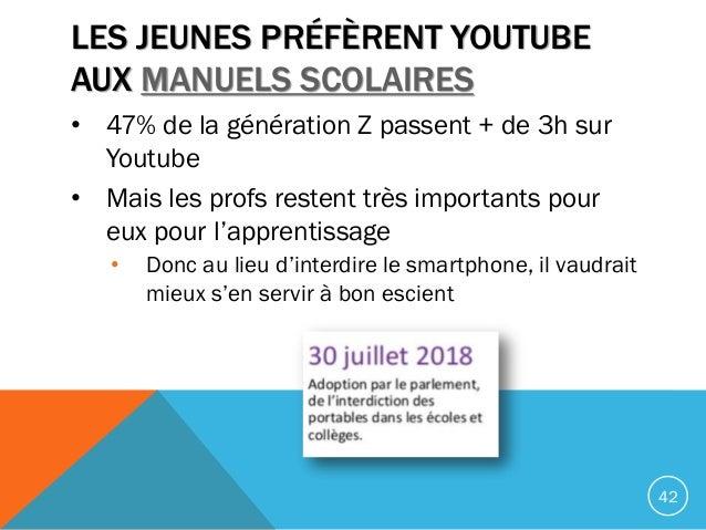 LES JEUNES PRÉFÈRENT YOUTUBE AUX MANUELS SCOLAIRES • 47% de la génération Z passent + de 3h sur Youtube • Mais les profs r...
