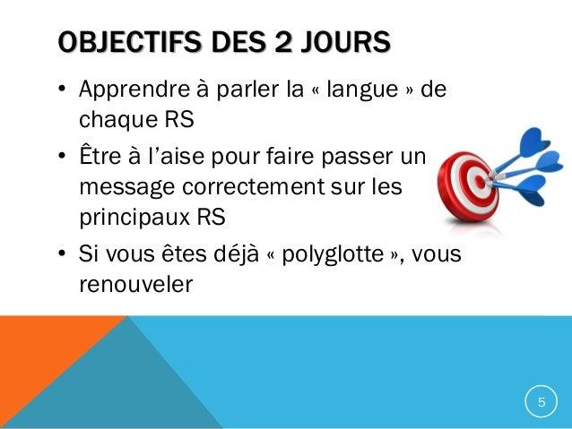 OBJECTIFS DES 2 JOURS • Apprendre à parler la « langue » de chaque RS • Être à l'aise pour faire passer un message correct...