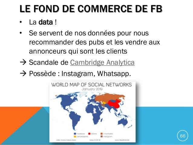 LE FOND DE COMMERCE DE FB • La data ! • Se servent de nos données pour nous recommander des pubs et les vendre aux annonce...