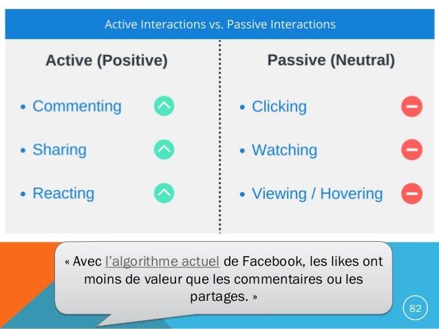 82 « Avec l'algorithme actuel de Facebook, les likes ont moins de valeur que les commentaires ou les partages. »