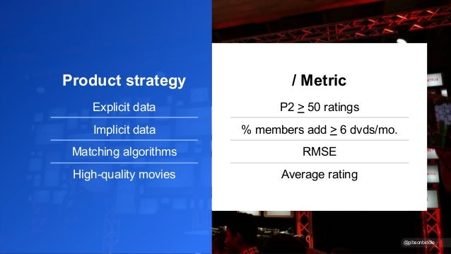 Product strategy Explicit data Implicit data Matching algorithms High-quality movies / Metric P2 > 50 ratings % members ad...