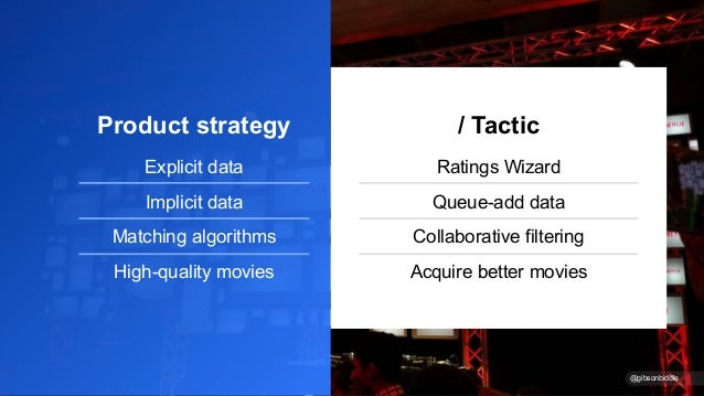 Product strategy Explicit data Implicit data Matching algorithms High-quality movies / Tactic Ratings Wizard Queue-add dat...