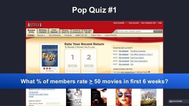 Pop Quiz #1 @gibsonbiddle What % of members rate > 50 movies in first 6 weeks?