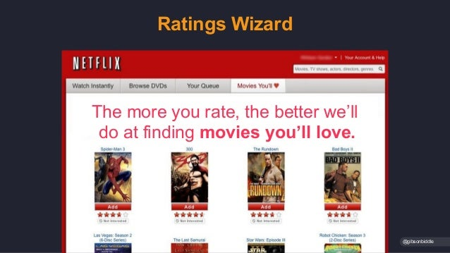 Ratings Wizard @gibsonbiddle The more you rate, the better we'll do at finding movies you'll love.