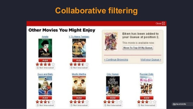 Collaborative filtering @gibsonbiddle