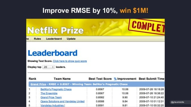 Improve RMSE by 10%, win $1M! @gibsonbiddle
