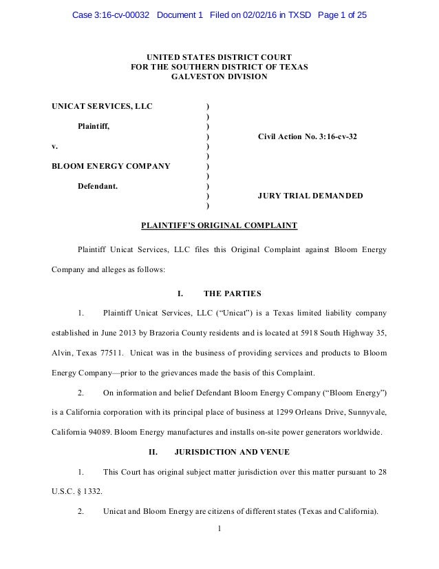 1 UNITED STATES DISTRICT COURT FOR THE SOUTHERN DISTRICT OF TEXAS GALVESTON DIVISION UNICAT SERVICES, LLC ) ) Plaintiff, )...
