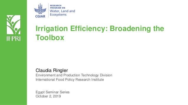 Irrigation Efficiency: Broadening the Toolbox Claudia Ringler Environment and Production Technology Division International...