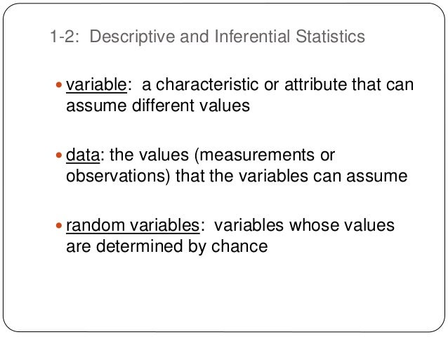 descriptive and inferential statistics2 This guide explains the properties and differences between descriptive and  inferential statistics.