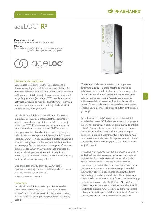 Nu Skin® Pagina Informativă a Produsului    ageLOC® R 2    Descrierea produsului    Pachete de capsule într-o sticluţă cu ...