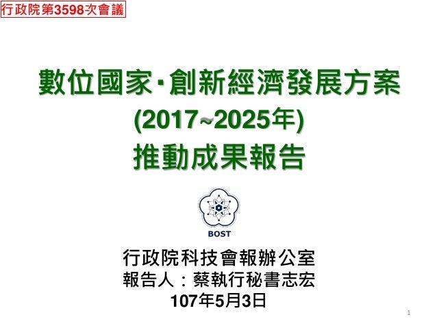數位國家‧創新經濟發展方案 (2017~2025年) 推動成果報告 行政院科技會報辦公室 報告人:蔡執行秘書志宏 107年5月3日 1 行政院第3598次會議