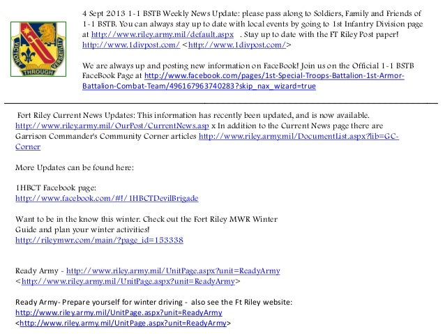 4 Sept 2013 1-1 BSTB Weekly News Update: please pass along to Soldiers, Family and Friends of 1-1 BSTB. You can always sta...