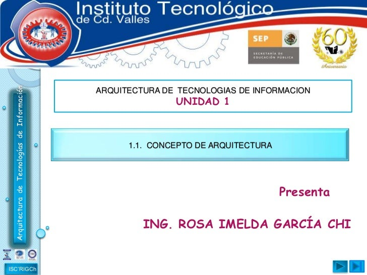 ARQUITECTURA DE  TECNOLOGIAS DE INFORMACION<br />UNIDAD 1<br />1.1.  CONCEPTO DE ARQUITECTURA<br />                       ...