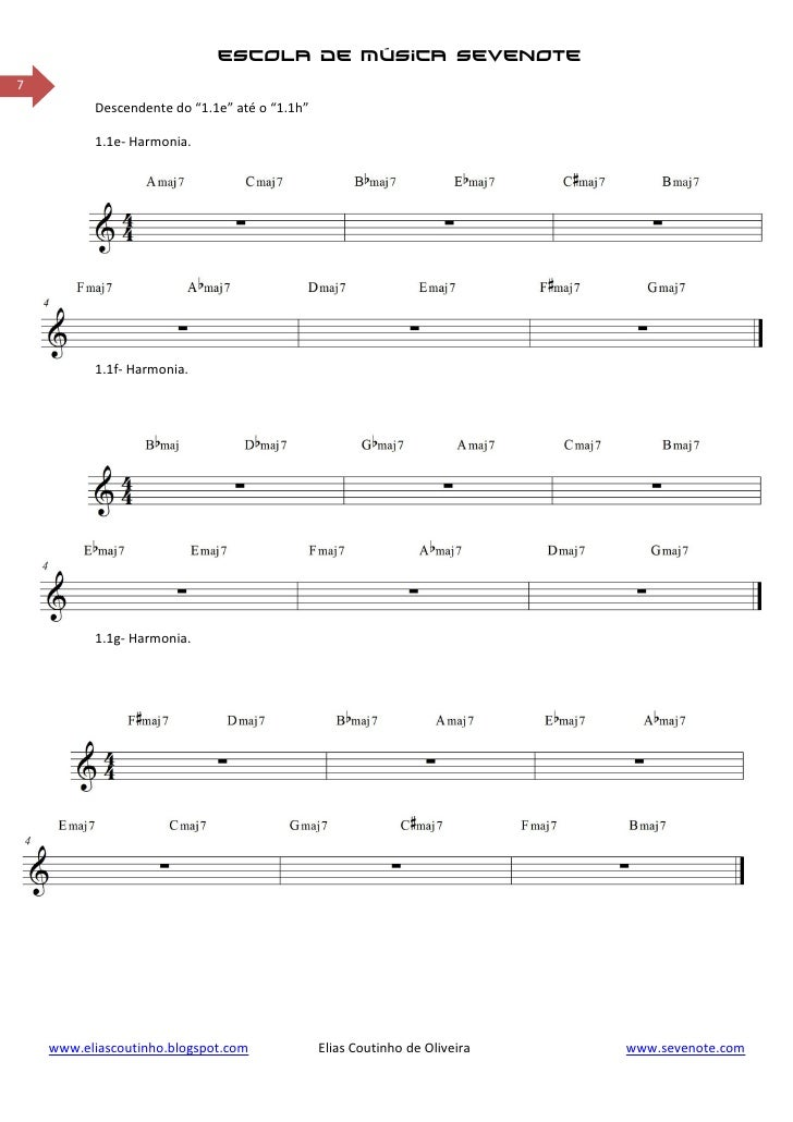 """escola de música sevenote7          Descendente do """"1.1e"""" até o """"1.1h""""          1.1e- Harmonia.          1.1f- Harmonia.  ..."""