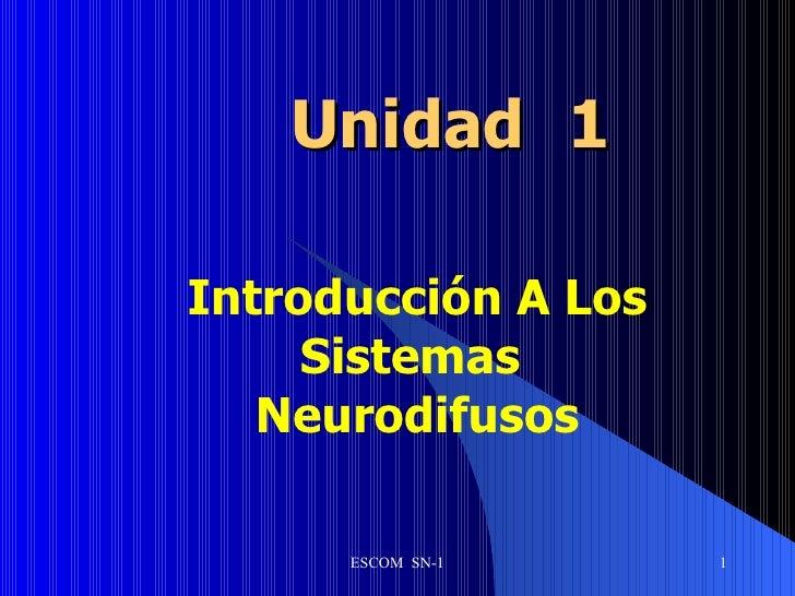 Unidad   1 Introducción A Los Sistemas  Neurodifusos