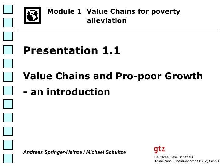 Deutsche Gesellschaft für Technische Zusammenarbeit (GTZ) GmbH Module 1  Value Chains for poverty   alleviation   Presenta...