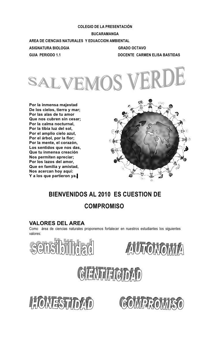 COLEGIO DE LA PRESENTACIÓN                                      BUCARAMANGA AREA DE CIENCIAS NATURALES Y EDUACCION AMBIENT...