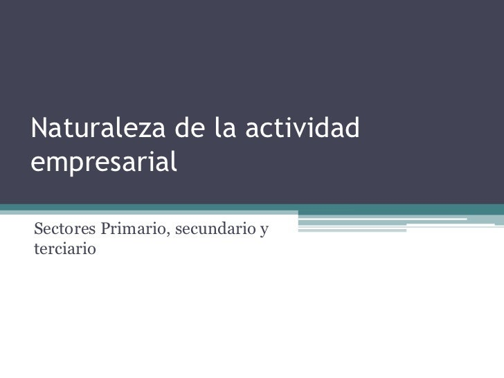 Naturaleza de la actividad empresarial<br />Sectores Primario, secundario y terciario<br />