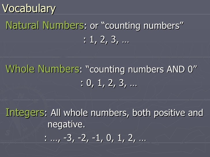 """Vocabulary <ul><li>Natural Numbers : or """"counting numbers""""  </li></ul><ul><li>  : 1, 2, 3, … </li></ul><ul><li>Whole Numbe..."""