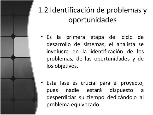 1.2 Identificación de problemas y oportunidades • Es la primera etapa del ciclo de desarrollo de sistemas, el analista se ...