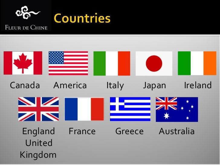 Ireland   France    Ireland   Australia   IrelandGreece    England    Italy    Japan       America
