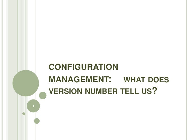 CONFIGURATION    MANAGEMENT: WHAT DOES    VERSION NUMBER TELL US?1
