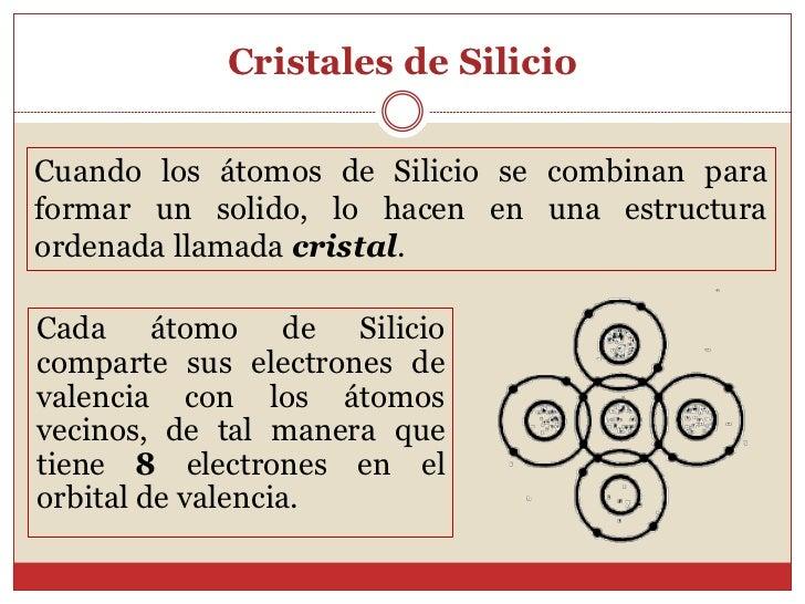 Cristales de SilicioCuando los átomos de Silicio se combinan paraformar un solido, lo hacen en una estructuraordenada llam...