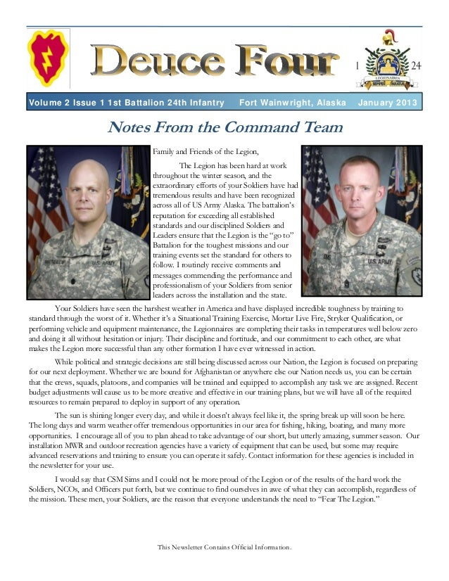Volume 2 Issue 1 1st Battalion 24th Infantry                          Fort Wainwright, Alaska               January 2013  ...