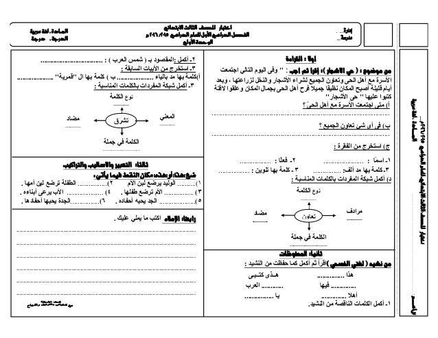 اختبار لغة عربية الصف الثالث الابتدائي ت1 2015 2016