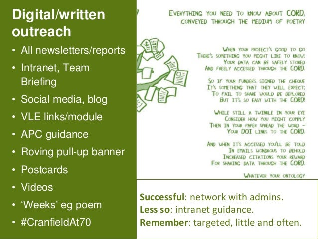 7 Digital/written outreach • All newsletters/reports • Intranet, Team Briefing • Social media, blog • VLE links/module • A...