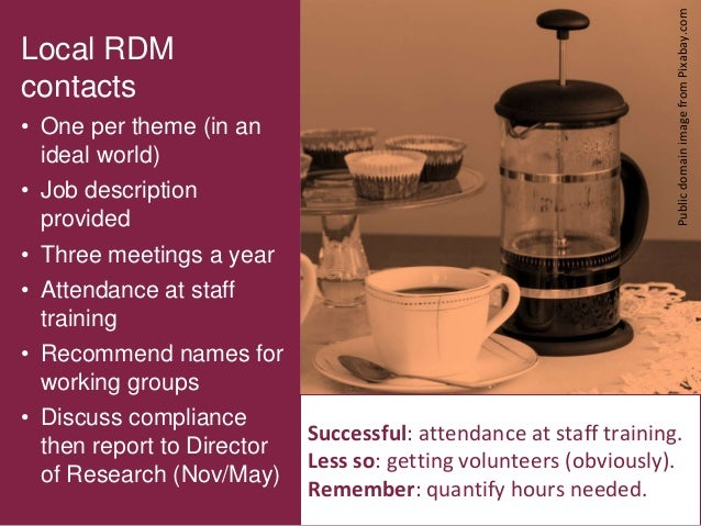 9 Local RDM contacts • One per theme (in an ideal world) • Job description provided • Three meetings a year • Attendance a...