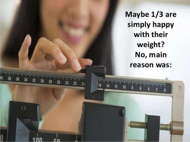 Maybe 1/3 are simply happy with their weight? No, main reason was: