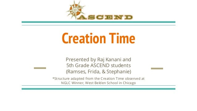 Creation Time Presented by Raj Kanani and 5th Grade ASCEND students (Ramses, Frida, & Stephanie) *Structure adapted from t...