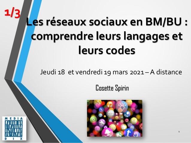 Les réseaux sociaux en BM/BU : comprendre leurs langages et leurs codes Jeudi 18 et vendredi 19 mars 2021 – A distance 1 1...